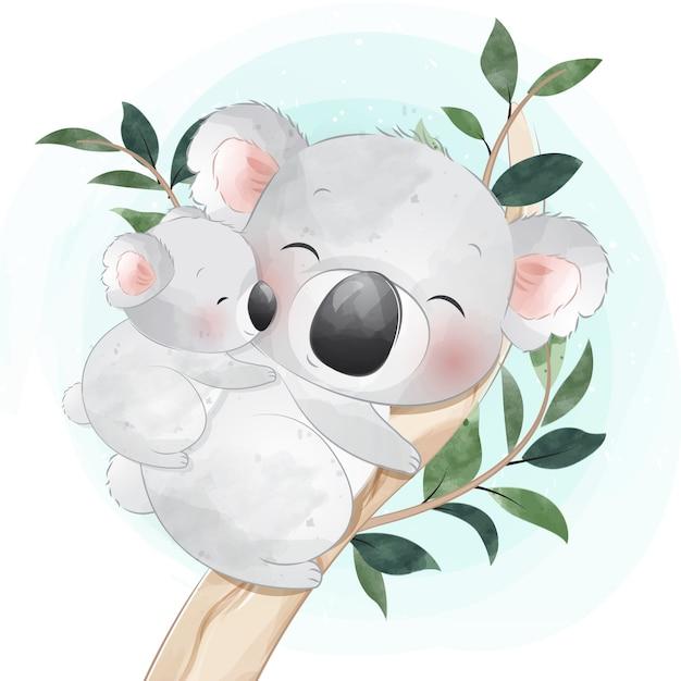 Милый маленький медведь коала матери и ребенка Premium векторы