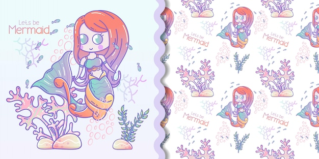 Cute little mermaid and marine life cartoon with seamless pattern set Premium Vector