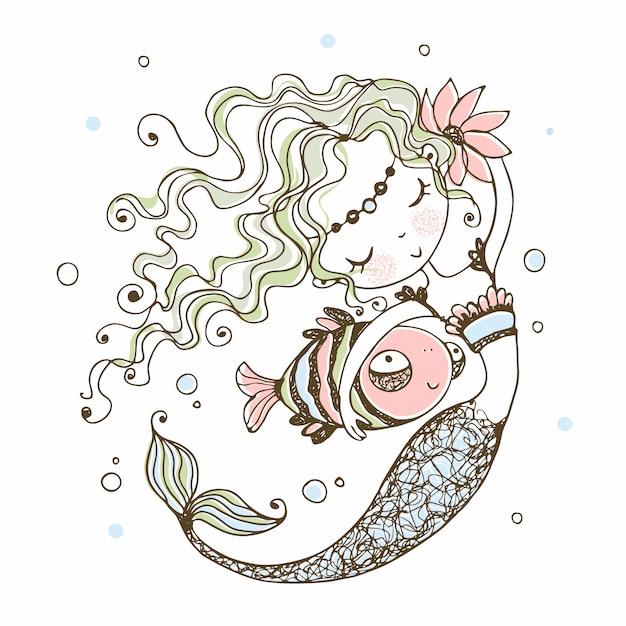 Cute little mermaid with a fish Premium Vector