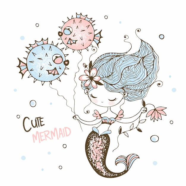 Cute little mermaid with funny fish-hedgehogs. Premium Vector