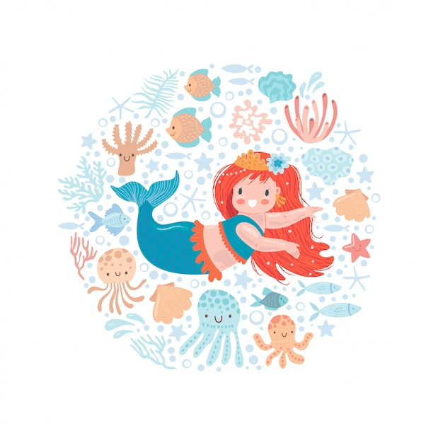 Cute little mermaid with little fish and other sea inhabitants Premium Vector