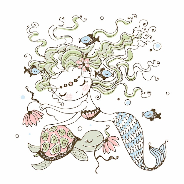 A cute little mermaid with a turtle. doodle style. Premium Vector
