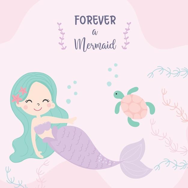 Cute little mermaid Premium Vector