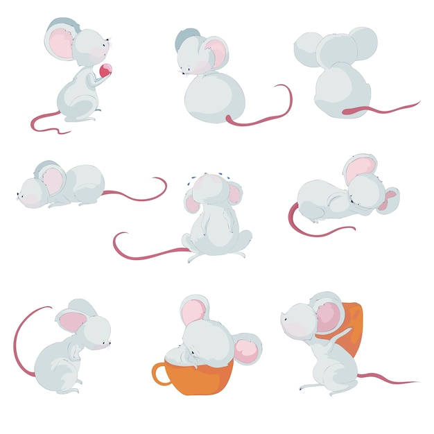 Cute little mice in different situations Premium Vector