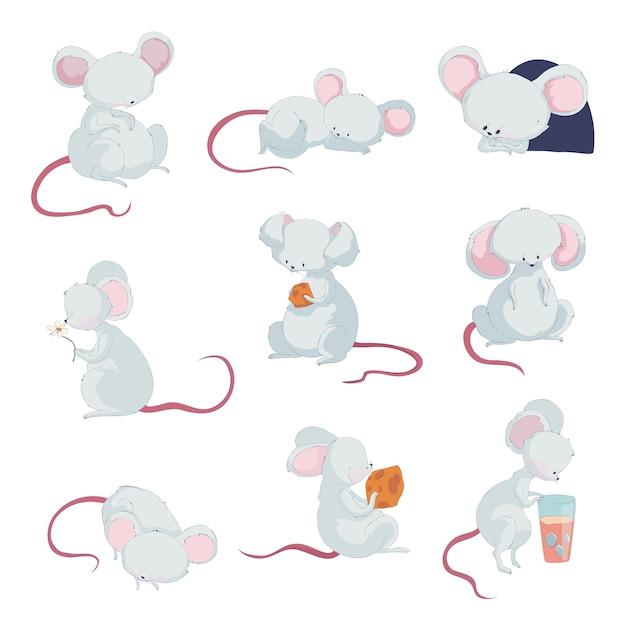 Милые мышки в разных ситуациях Premium векторы