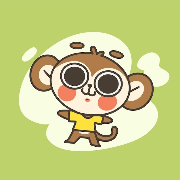 かわいい小さな猿の男の子のマスコット落書きイラスト Premiumベクター