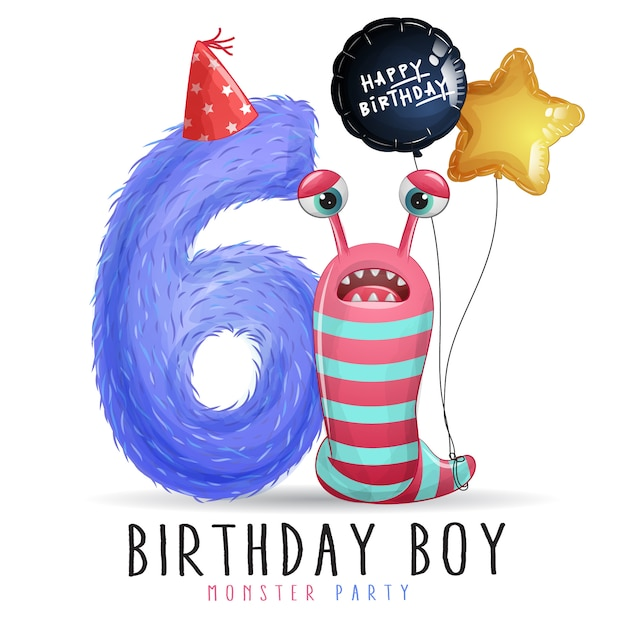 Cute little monster birthday with watercolor illustration Premium Vector
