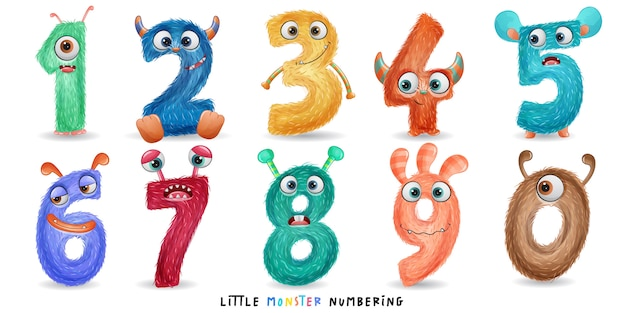 Cute little monster numbering with watercolor illustration