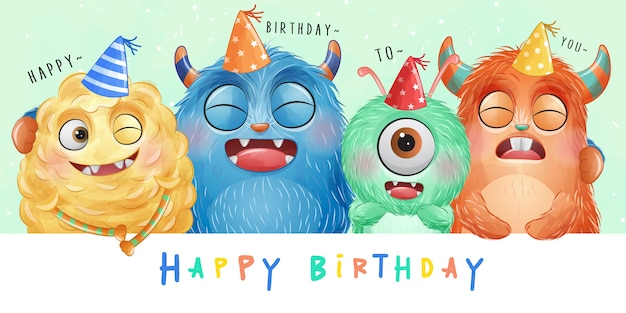 Cute little monster with watercolor illustration Premium Vector