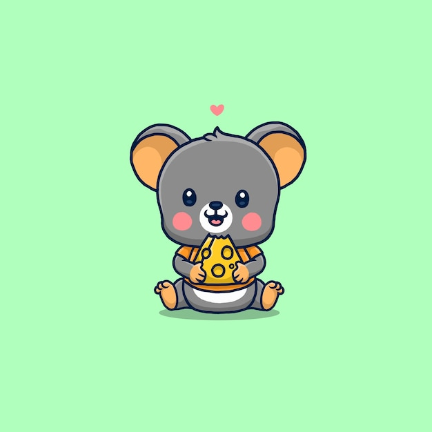Cute little mouse eating cheese isolated on green Premium Vector