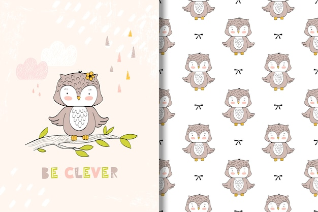Cute little owl card and seamless pattern. kids illustration Premium Vector
