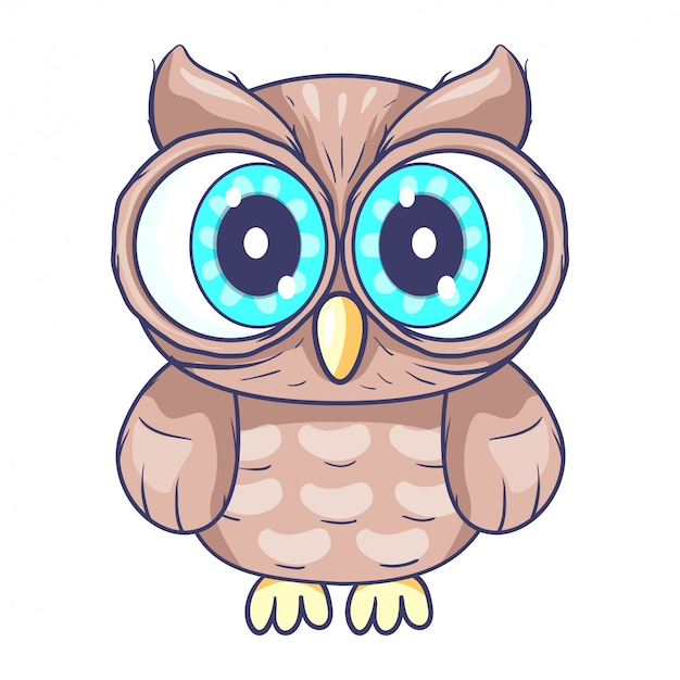 Cute little owl cartoon Vector | Premium Download