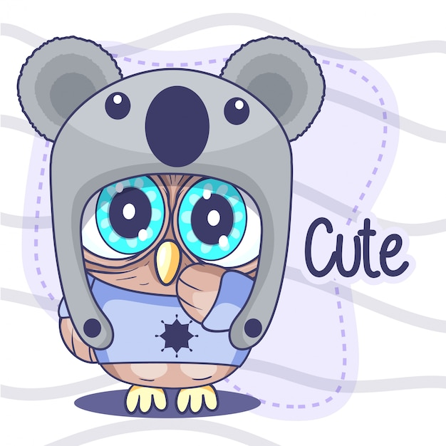 Cute little owl  with a hat Premium Vector