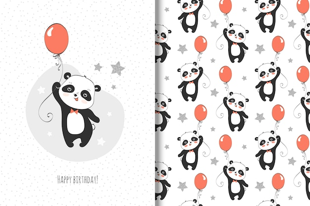Cute little panda card and seamless pattern for kids Premium Vector