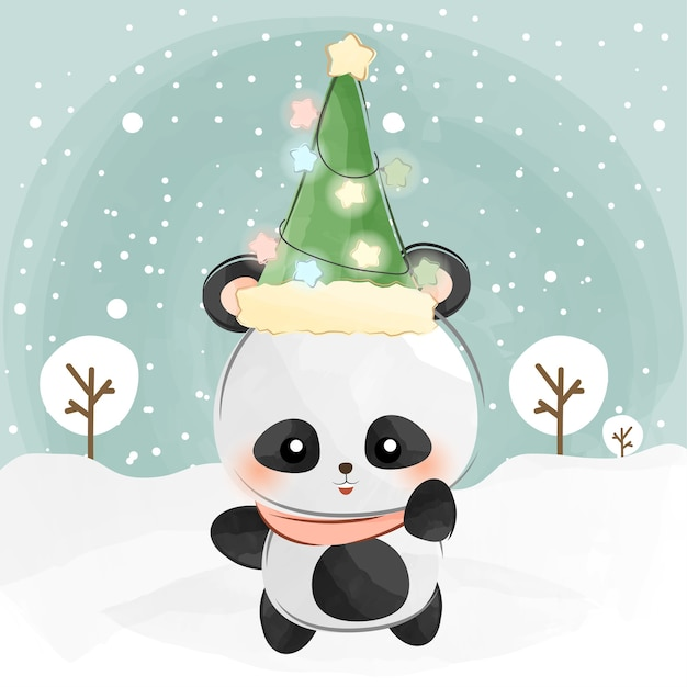 Cute little panda and christmas hat Premium Vector
