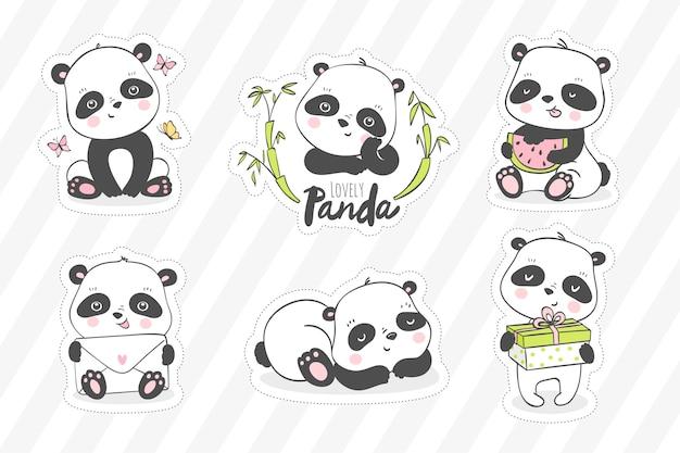Милая маленькая панда иллюстрации. коллекция наклеек с животными. Premium векторы