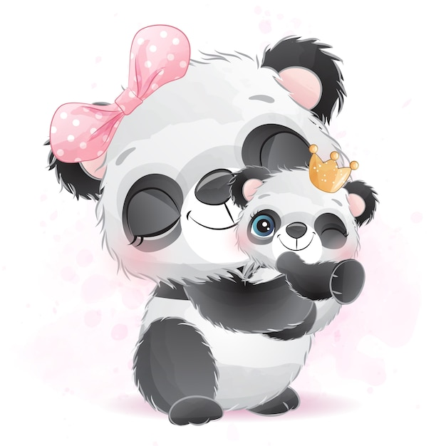 Cute little panda mother and baby Premium Vector