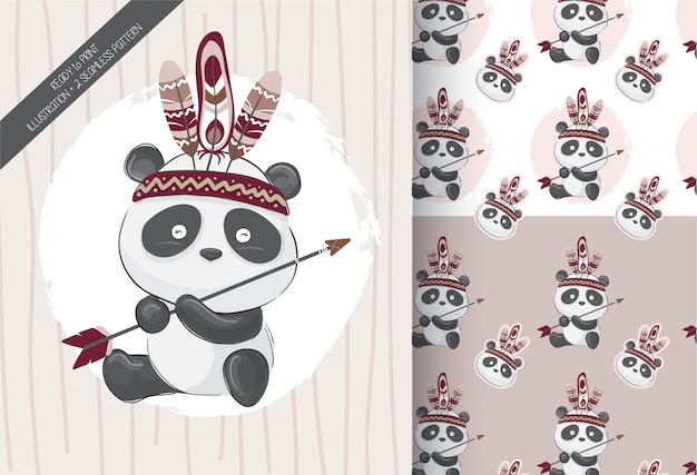 Cute little panda tribal with seamless pattern Premium Vector