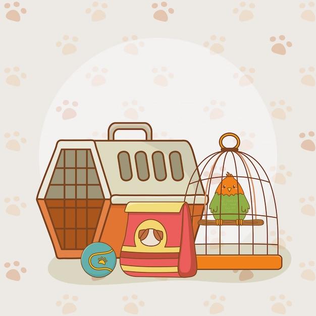 Cute little parrot mascot Premium Vector