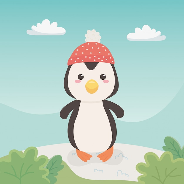 Cute and little penguin in the field Premium Vector