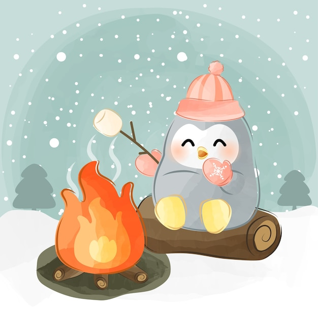 Cute little penguin roasting marshmallow Premium Vector