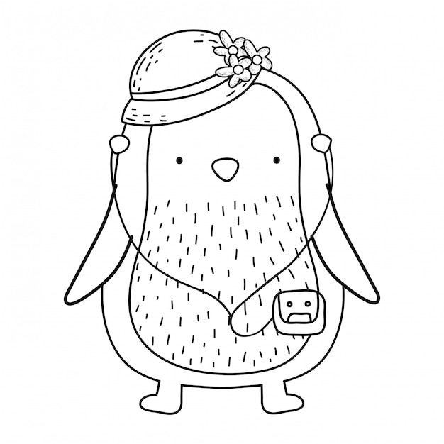 Cute little penguin with female hat and walkman Premium Vector