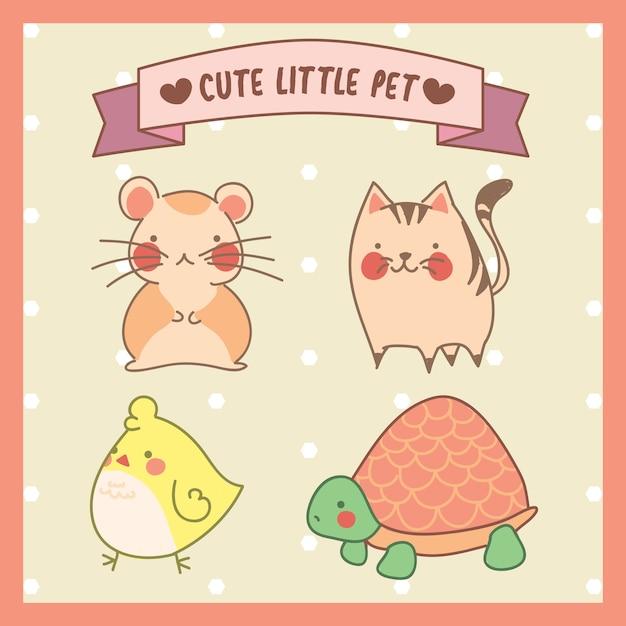 Cute little pets Premium Vector