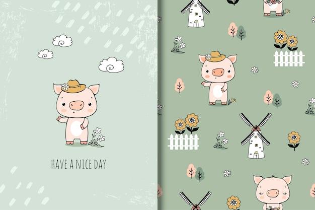 手描きスタイルのかわいい子豚漫画のキャラクターイラスト。カードとシームレスなパターン。 Premiumベクター