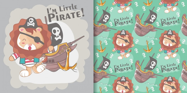 Cute little pirate lion and seamless pattern set Premium Vector