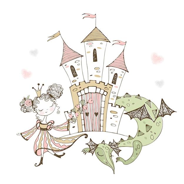 Cute little princess and fairy-tale dragon. Premium Vector
