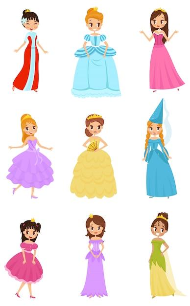 かわいいプリンセスの女の子セット、プリンセスの美しい女の子ドレスイラスト白背景に Premiumベクター