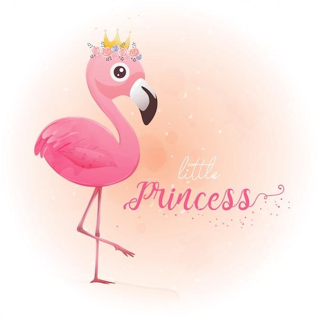 Cute little princess pink flamingo Premium Vector