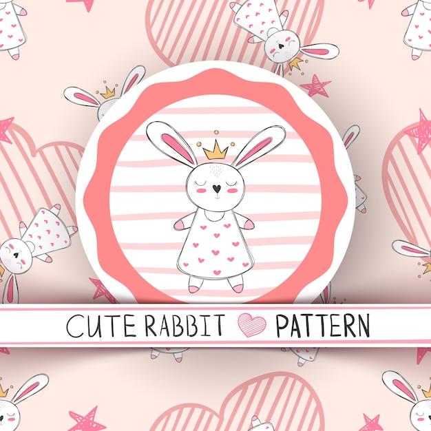 Cute little princess rabbit cartoon Premium Vector