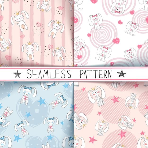 Cute little princess seamless pattern Premium Vector