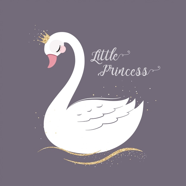 Cute little princess swan with gold glitter crown. Premium Vector
