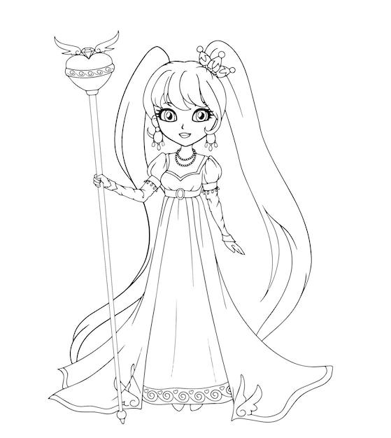 アンピアスタイルのドレスを着てかわいいプリンセス、手描きアート。塗り絵、タトゥー、ファッション、ゲーム、カードの輪郭アート。図。 Premiumベクター
