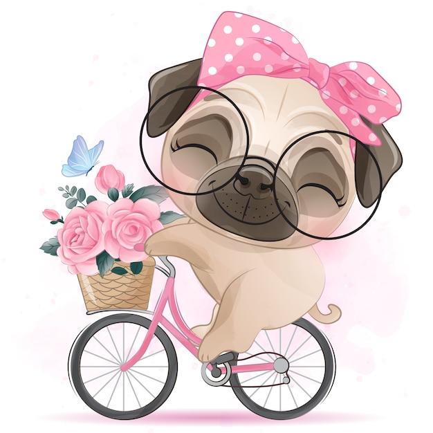 Милый маленький мопс на велосипеде Premium векторы