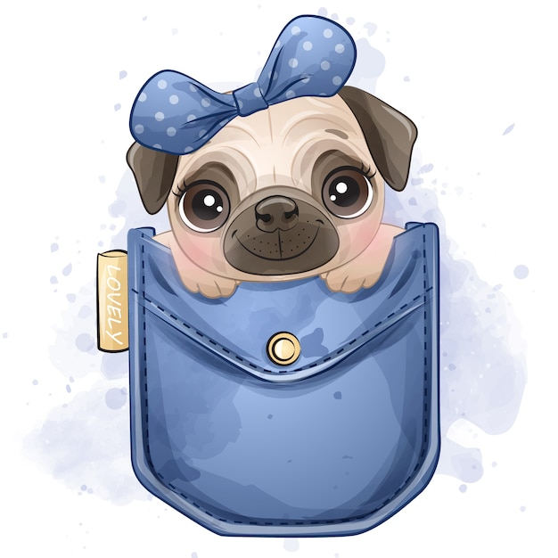 Cute little pug sitting inside the pocket Premium Vector