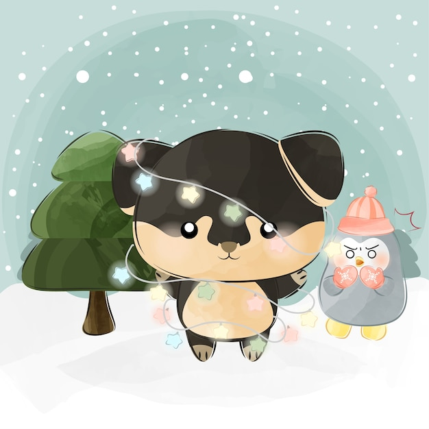 Cute little puppy and tree Premium Vector
