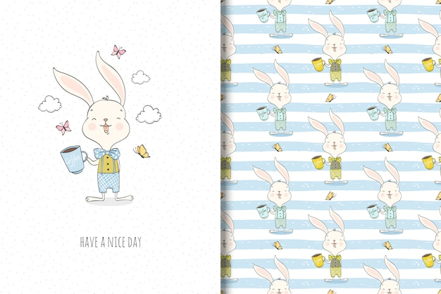 Cute little rabbit cartoon character. surface design and funny illustration. Premium Vector