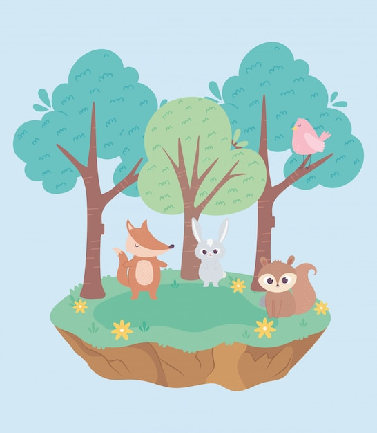 Милый маленький кролик лиса птица и белка животных мультфильм Premium векторы