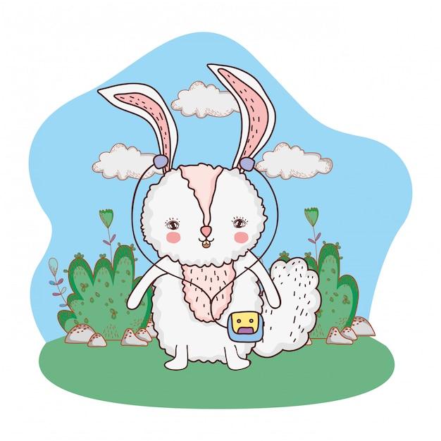 Cute little rabbit with walkman in the park Premium Vector