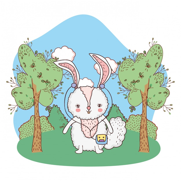 Cute little rabbit with walkman in the park Premium Vector