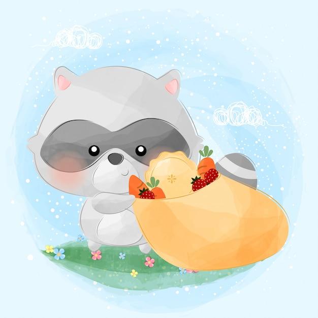 Cute little raccoon and his food bag Premium Vector