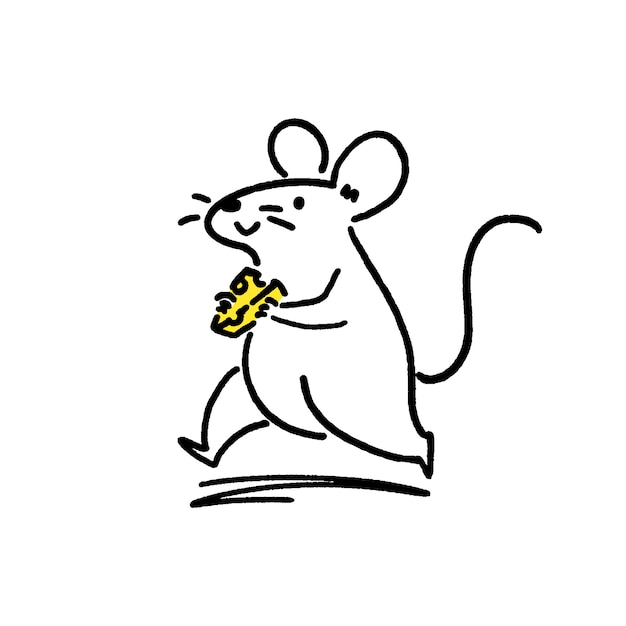 Cute little rat with cheese Premium Vector