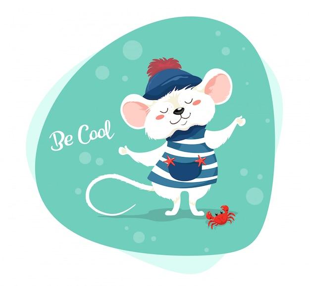 ストライプのベストと帽子をかぶったかわいいセーラー-クールに。漫画のスタイルのキャラクター。かわいい赤ちゃん漫画マウス Premiumベクター
