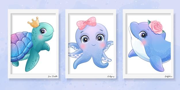 Милая маленькая иллюстрация морской черепахи, осьминога и дельфина Premium векторы