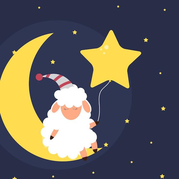 밤 하늘에 귀여운 작은 양. 좋은 꿈꾸세요. 프리미엄 벡터