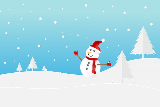 Cute little snowman with red scarf on snow. Premium Vector