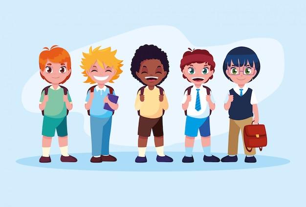 Cute little student boys avatar character Premium Vector